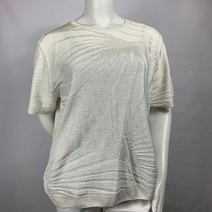 Alfred Dunner Textured Sweater KnIt Ivory Sz: XL